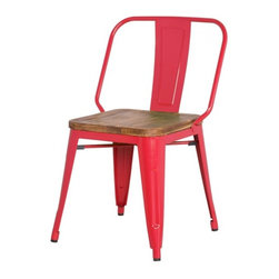 NPD (New Pacific Direct) Furniture - Brian Metal Dining Chair w/Wood Seat (Set of 4) by NPD Furniture, Red - This modern Brian dining side chair (Set of 4) made of powder coated steel with Pine wood seat will be a great addition to your dining area.