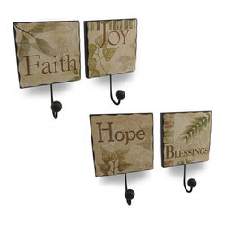 Zeckos - Faith, Hope, Joy and Blessings Wooden Wall Hooks Set of 4 - Use this set of 4 wall hooks to remind yourself to always keep the 'Faith', have 'Hope', en'JOY' life and be thankful for your 'Blessings' These textured leafy decoupage style images are printed on wooden plaques with a metal wood tipped hook perfect for hanging coats, jackets, towels, leashes or even nothing at all Measuring 9 inches (23 cm) high, 6 inches (15 cm) wide and 2 inches (5 cm) deep, they easily mount to the wall using the attached hangers. They'd look great in your entryway, on your enclosed porch, in the bedroom or at the home of a friend, thanks to you