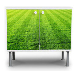 """Football Field Bath Cabinet by Banjado - OK, so technically this is sold as a """"bath cabinet,"""" but hey, a cabinet can be used anywhere! Especially with all the clutter that kids can amass, which can be tucked neatly away behind these grassy-green football-field doors."""