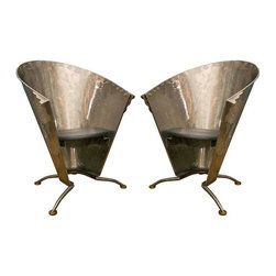 French Steel Cafe Club Chair Pair - Vintage pair of cone forn French steel cafe chairs. All Hand-Fashioned of welded steel, brass cap foot. Black leather seat pad.
