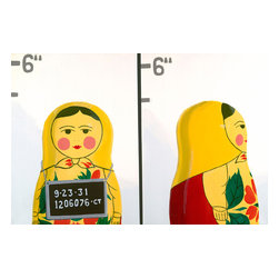 "Emma at Home - Matryoshka Mugshot Canvas, 24"" x 36"" - Do you wonder what this little cutie did to get herself locked up? Good art has a way of getting you thinking. This clever canvas would add personality to any home."