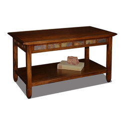 Leick Furniture - Coffee Table in Rustic Oak Finish - Bottom display shelf. Decorative running slate details. Under beveled top. Versatile compact size fits perfectly in small spaces. Compact condo or apartment scale. Made from hardwood solids and veneers. Assembly required. 38 in. W x 20 in. D x 20.5 in. H (48 lbs.)