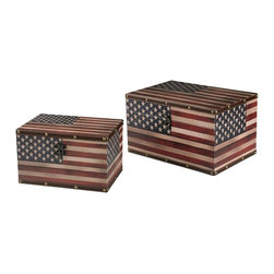 Sterling Industries - Set Of 2 American Flag Boxes - Set Of 2 American Flag Boxes