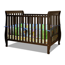 AFG Baby - AFG Baby Naomi Convertible Crib with Toddler Rail in Espresso - Accented by graceful curves on the legs, the Naomi 4-in-1 Convertible Crib brings unique style combining different elements for safety and ease of use. Made of pine solid hardwood with a non toxic finish, the Naomi crib has stationary sides for added safety in addition to wide, thick slats for extra sturdiness. Features 3-level adjustable mattress height support, and conversion to a toddler bed or day bed with the included guardrail, or full-size bed (conversion rails sold separately).