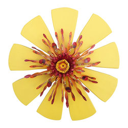 Souvenir Farm, Ltd. - Outdoor Wall Art Crafted from Reclaimed Wood & Metal - Yellow Sunburst Flower - Treat your home to a splash of sunny color with this cheerful reclaimed wood and metal piece. Handmade, ready to hang and at home anywhere from fence to family room, it has rustic charm to spare.