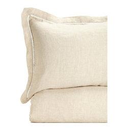 Melange Home - 100% Linen Duvet Cover / Sham, Natural, Full/ Queen Duvet Cover Only - Details: