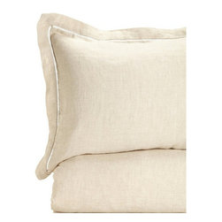 Melange Home - 100% Linen Duvet Cover / Sham, Natural, Full/ Queen Duvet Cover Only - Details: