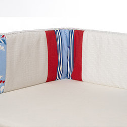 Glenna Jean - Glenn Jean Crib Bumper - Set Sail - The Glenna Jean Crib Bumper - Set Sail is 10 inches wide x 154 inches long and has single ties on each end with 5 sets of ties along the top and bottom. It is made of 60 cotton and 40 polyester fabrics exclusive of decoration. Filling is 100 polyester. Care instructions machine wash warm tumble dry low and use only Non-chlorine bleach when needed.