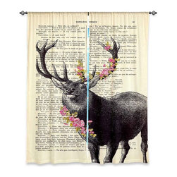 "DiaNoche Designs - Window Curtains Unlined from DiaNoche Designs by Madame Memento - Deer Blossom - DiaNoche Designs works with artists from around the world to print their stunning works to many unique home decor items.  Purchasing window curtains just got easier and better! Create a designer look to any of your living spaces with our decorative and unique ""Unlined Window Curtains."" Perfect for the living room, dining room or bedroom, these artistic curtains are an easy and inexpensive way to add color and style when decorating your home.  The art is printed to a polyester fabric that softly filters outside light and creates a privacy barrier.  Watch the art brighten in the sunlight!  Each package includes two easy-to-hang, 3 inch diameter pole-pocket curtain panels.  The width listed is the total measurement of the two panels.  Curtain rod sold separately. Easy care, machine wash cold, tumble dry low, iron low if needed.  Printed in the USA."