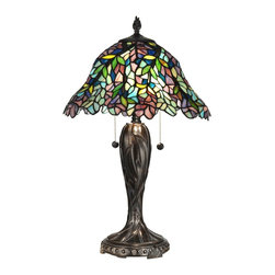 Dale Tiffany - Dale Tiffany TT12225 Wisteria Edge Traditional Tiffany Table Lamp - Graceful wisteria blossoms explode in a kaleidoscope of color in this bright table lamp. 576 pieces of art glass in hues of red, green, blue, yellow, lavender and white have been individually hand rolled and copper foiled using the same technique developed by Louis Comfort Tiffany in the late Nineteenth 'Century. Our designers have added a metal tree trunk style base and decorative finial, both finished in rugged fieldstone, which adds to the natural beauty of the lamp. A perfect choice in a bedroom, sunroom or any room needing a splash of vibrant color, this delightful table lamp is a great way to begin your Tiffany collection or a must have piece for the established collector.