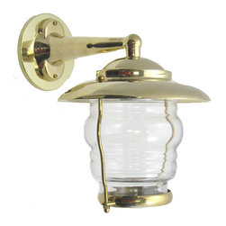 Shiplights - Small Patio Wall Light Fixture (Solid Brass Interior & Exterior by Shiplights) - Our Small Patio Wall Light is made of solid brass and can be used indoors or outdoors in a wide variety of applications.