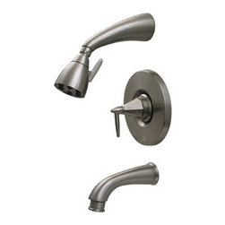 Whitehaus Collection - Pewter Whitehaus 614.855PR Wall Mount Shower Set with Valve Tub Filler & Diverte - Complete your dream bathroom with the Whitehaus wall mount shower set. This kit from the Blairhaus collection has the total solution to your shower requirements. It is inclusive of a wall-mount shower head and a tub filler for your bath tub. Its pull down diverter is very handy because you could easily switch the water flow from your shower to the tub filler, or vice versa.