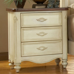 None - Crescent Manor White Nightstand - The graceful curves and vintage antique white finish give the Crescent Manor nightstand its classic style. The elegant 3-drawer nightstand features felt lining in the top drawer and carved shell cup pulls.