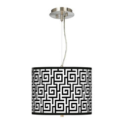 "Giclee Gallery - Asian Greek Key Giclee 13 1/2"" Wide Pendant Chandelier - Get stylish with this drum shade pendant chandelier. The design features an exclusive pattern printed on high-quality canvas. A white acrylic diffuser at the bottom of the shade prevents glare. Includes extra cable and cord so you can vary the hanging height. Brushed steel finish. Custom giclee shade. 1/8"" thick acrylic diffuser. Takes two 75 watt bulbs (not included). 32"" pre-set hanging height. Maximum hanging height of 10 feet. Shade is 10"" high and 13 1/2"" wide. U.S. Patent # 7347593.  Brushed steel finish.   Custom giclee shade.   1/8"" thick acrylic diffuser.   Takes two 75 watt bulbs (not included).   32"" pre-set hanging height.  Maximum hanging height of 10 feet.   Shade is 10"" high and 13 1/2"" wide."
