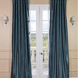 Half Price Drapes - Peacock Vintage Textured Faux Dupioni Silk Single Panel Curtain, 50 X 96 - - Peacock blue has been known to be used in grand hotels and to cover the walls of libraries. The intense blue can take on a more casual tone when paired with lighter colors. Our Faux Silk Dupioni curtains have a slight sheen that mimics the finest textured Dupioni silk. These curtains bring the look of luxury without the cost or high-maintenance care. Built-in are two header designs within a single panel: attached back tabs for a formal pleated look and traditional pole pockets.   - Single Panel   - 3 Rod Pocket with Back Tab   - Pole Pocket with Back Tabs   - Dry clean   - 100% Polyester Dupioni Fabric   - Lined with a cotton blend material  - 50x96   - Imported   - Blue Half Price Drapes - PDCH-KBS14-96
