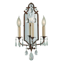 Murray Feiss - Murray Feiss Maison de Ville Traditional Wall Sconce X-BRB8121BW - This Murray Feiss wall sconce features plenty of romantic inspired details from the cascades of crystals to the three candelabra style lights. From the Maison de Ville Collection, the French inspired design also features a rich British Bronze finish that compliments the look.