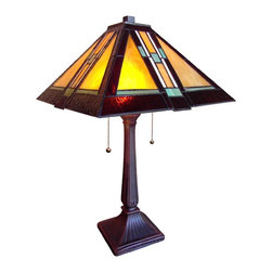 Chloe Lighting - Southwestern Mystique Table Lamp - Glass shade. Requires two 60 watts bulbs. Pull chain switches. Resin base and electrical components. Bronze finish. Assembly required. 14 in. W x 22 in. H (8.8 lbs.)Southwestern Mystique brings the beauty and mystery of the great southwest into any library, home, or office. The colors and design instill a sense of intrigue and curiosity, and that makes the Southwestern a perfect addition for an ambience dedicated to tranquility and spatial harmony.