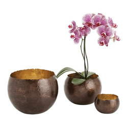 Kathy Kuo Home - Alessandria Bronze Polished Brass Hammered Bowls - Set of Three - The word ���bowl� just doesn't do these radiant, extra-deep pots justice. Their dark bronze hammered exterior and polished brass interior make them practically glow from the inside out. A rough, irregular edge gives them the feel of just having been cracked open to reveal secret contents. Use for planting, storage or decorative accents for your modern home.