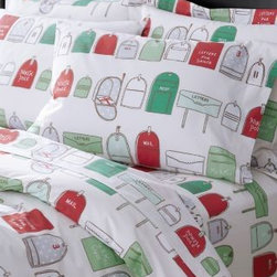 Garnet Hill - Garnet Hill Holiday-Post Percale Bedding - Double - Fitted - Multi - These holiday sheets are printed with original, hand-drawn artwork rendered in vintage tones. Combed long-staple 200 thread count cotton. Off-white background. Fitted sheet is fully elasticized for a better fit.