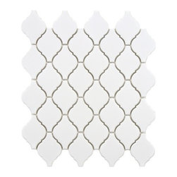Arabesque Porcelain Tile Mosaic - Matte White -