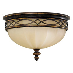 Murray Feiss - Murray Feiss Edwardian Transitional Flush Mount Ceiling Light X-LAW162MF - From the Edwardian Collection, a beautiful filigree pattern draws the eye in on this Murray Feiss flush mount ceiling light. It also features warm finishes that help compliment the style, including a rich Walnut hue that compliments the rich tones of the English scarvo glass shade.