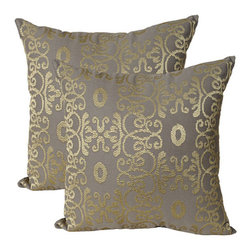India House Brass, Inc. - Geometric Gray 20-Inch Square Embroidered Pillow - - Whether you are looking for plain or fancy, modern or traditional, our decorative pillows are just the right combination.   - The shell is made of 100% cotton and the filling is 100% polyester.  India House Brass, Inc. - 83151