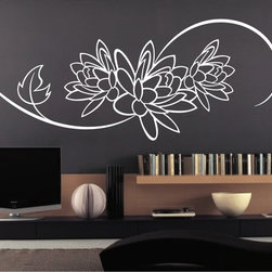 StickONmania - Flower Design #63 Sticker - A cool vinyl decal wall art decoration for your home  Decorate your home with original vinyl decals made to order in our shop located in the USA. We only use the best equipment and materials to guarantee the everlasting quality of each vinyl sticker. Our original wall art design stickers are easy to apply on most flat surfaces, including slightly textured walls, windows, mirrors, or any smooth surface. Some wall decals may come in multiple pieces due to the size of the design, different sizes of most of our vinyl stickers are available, please message us for a quote. Interior wall decor stickers come with a MATTE finish that is easier to remove from painted surfaces but Exterior stickers for cars,  bathrooms and refrigerators come with a stickier GLOSSY finish that can also be used for exterior purposes. We DO NOT recommend using glossy finish stickers on walls. All of our Vinyl wall decals are removable but not re-positionable, simply peel and stick, no glue or chemicals needed. Our decals always come with instructions and if you order from Houzz we will always add a small thank you gift.