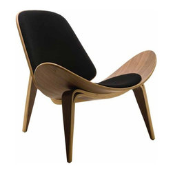 Fine Mod Imports - Shell Chair in Black - Contemporary style. Three legged accent chair. Leather seat and back. Base in walnut finish. Removable padded seat. Warranty: 1 year. Made from solid oak wood. Lacquer finish. Assembly required. 36 in. W x 33 in. D x 30 in. H (35 lbs.)Among the most famous designs created by Danish modernist, this chair almost fell into obscurity. Originally produced in 1963, it was discontinued after few limited series. In 1997, production on the chair was re-launched and became hit with the public.