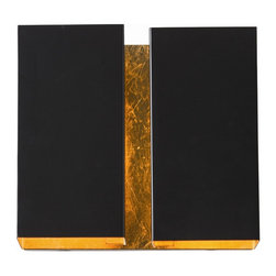 Arteriors - Vaughn Sconce - Black and gold — what a powerful combination for your decor. This striking iron wall sconce relies on a precious metal finish to reflect light to bring a glow to your favorite setting.