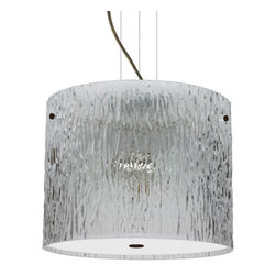 Besa Lighting - Besa Lighting 1KV-400700-LED Tamburo 3 Light LED Cable-Hung Pendant - Tamburo is a classic open-ended cylinder of handcrafted glass, a shape that will stand the test of time. Our Clear Stone glass is a clear blown glass with an outer texture of coarse sandstone. Inspired by the elements of nature, the appearance of the surface resembles the beautiful cut patterning melting ice over a rock formation. This blown glass is handcrafted by a skilled artisan, utilizing century old techniques that have been passed down from generation to generation. Each piece of this decor has its own artistic nature that can be individually appreciated. The cable pendant fixture is equipped with three (3) 10' silver aircraft cables and 10' AWM cordset, and a low profile flat monopoint canopy.Features: