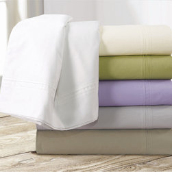 Tribeca Living - Egyptian Cotton Percale 350 Thread Count Deep Pocket Sheet Set - Lie down to sleep on this crisp,smooth 350 thread count percale Egyptian cotton sheet set. Oversized flat and the deep fitted sheet in this percale sheet set can handle mattresses up to 23 inches deep.