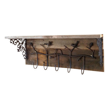 (del)Hutson Designs - reclaimed bird coat rack - This coat rack is made out of reclaimed wood and rustic rod iron metal. The birds add a cottage chic feel to this beautiful yet functional piece.