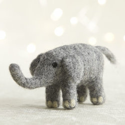 Needle Felt Wool Elephant Ornament - This is a very sweet wool felt elephant ornament for your tree.