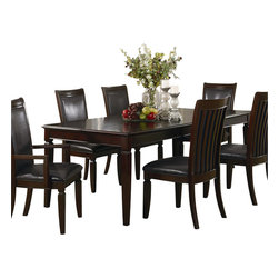 Coaster - Coaster Ramona Formal Rectangular Dining Table in Walnut Finish - Coaster - Dining Tables - 101631 - Create a refined and formal dining experience with the Ramona collection. The selected dining pieces carry a Walnut finish over birch veneers tapered legs and separated-bracket chair backs which all blend beautifully into your home decor. The elegant collection also features brown leather-like vinyl chair seats as well as silver knobs and handles. Your dining room will shine with sophistication and class with the addition of the Ramona collection.