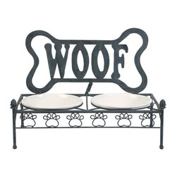"""IMAX - Woof Ceramic and Metal Dog Bowl - Raised for ease of digestion, the Woof dog feeder features ceramic bowls and a cute metal stand. Item Dimensions: (16.25""""h x 21""""w x 10.25"""")"""
