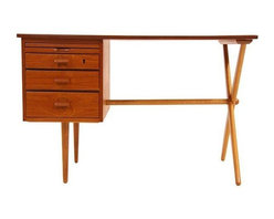 Pre-owned Danish Modern Teak Desk - Get productive AND look great sitting pretty at this Danish Modern desk from the 1950's. Made of teak and oak, this workstation is in excellent, newly refinished condition.