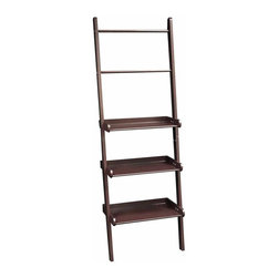 Sourcing Solutions, Inc. - Ladder Shelf, Espresso - Handy, sturdy ladder style shelving with towel bars from RiverRidge®Home offers three shelves and two towel bars. Easy assembly and securely attaches to the wall.  Each Shelf holds up to 12 pounds.  Can also be used in other areas of the home for extra storage space.
