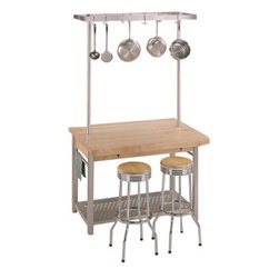 John Boos & Co. Cucina Grande Pot Rack - Expand your kitchen workspace with a multipurpose table that can store extra pots, pans and other kitchen utensils. If you're renting a home and looking for a temporary solution that you can take with you when you move, this is one of my top recommendations.