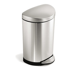 simplehuman - simplehuman 10-liter Semi-round Step Can - This space-efficient,semi-round step can is perfect for small spaces,such as an office or bathroom. It features a durable steel pedal that opens the lid smoothly,and a removable inner bucket for easy trash disposal.