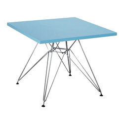 """Zuo - Zuo Wacky Blue Childrens Table - Perched atop an intricate chrome finish steel base the Wacky Collection is a modern childrens table for your child's contemporary living space. This square table is both a place to play draw or read and an eye-catching accent piece. The blue finish table top is complemented beautifully by the polished legs below. Design by Zuo Modern. MDF construction. Blue finish. Chrome finish steel base. 23 3/4"""" wide. 23 3/4"""" deep. 19 1/4"""" high.  MDF construction.   Blue finish.   Chrome finish steel base.   Some assembly required.  23 3/4"""" wide.   23 3/4"""" deep.   19 1/4"""" high."""