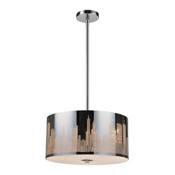 "Elk Lighting - Skyline Modern Stainless Steel Three-Light Pendant Light - A City Skyline Is Carefully Etched Into Stainless Steel Of This Pendant. When Illuminated, The Energy Of A Bustling City Awakens With Buildings And Skyscrapers Taking On A Three-Dimensional Appearance. This Fixture Is Skillfully Polished And Boasts A White Diffuser To Enhance Its Appearance. The Light Accomodates Three (3) 60 Watt Bulbs With A Medium Base, Which Are Not Included. It Includes: (1) 6"" and (2) 12"" Extension Rods With Hang-Straight."