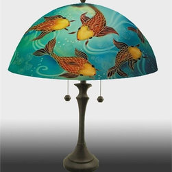 Barthell, Jamie - Koi Reverse Hand Painted Glass Table Lamp - This is a uniquely designed hand painted lamp. The Japanese KOI, and pond details are reverse painted into the lamp shade. These lamps are original work of art that is signed and numbered, and includes a certificate of authenticity