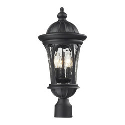 "Z-Lite - Doma Outdoor Post Light Sand Black in Water glass Shade - Traditional and timeless, this medium outdoor post head fixture combines black cast aluminum hardware with clear water glass for a classic look.; Collection: Doma; Frame: Sand Black, Aluminum; Shade: Water glass, Glass; Bulb: 60 watts, Candelabra base; No. of bulbs: 3; Bulb not included.; UL Application: Wet; Dimensions: 9""W x 20.25""H; Cord Length: 6""; Weight: 6.16 lbs."