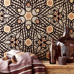 Yasmin - A dazzling chocolate and espresso wallpaper design that adds cultural appeal to walls with a striking geometric print.