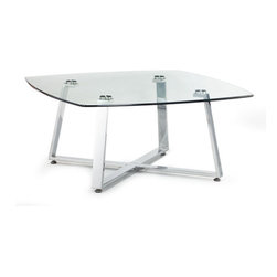 Zuo Modern - Lemon Drop Small Coffee Table Clear Glass - Bring home fresh design and fresh style with our Lemon Drop Small Coffee Table. This coffee table is remarkable for its chromed stainless steel base supporting clear tempered glass top. It's the perfect long coffee table to compliment any living room.