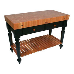 John Boos - Rectangular Table in Cherry End Grain Top (48 - Choose Size: 48 in. x 24 in.4 in. Thick cherry end grain top with boos block cream finish with beeswax. 34.5 in. Overall height. 30 in. Length Standard With 1 Dovetailed Drawer. 48 in. Length Standard With 2 Dovetailed Drawers. Standard Varnique finish