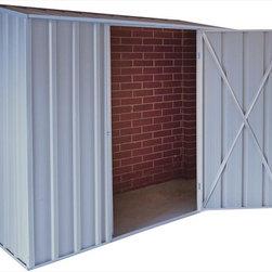 EnduraShed - EnduraShed Garden Sheds - Compact Series, Gray 2 - [1.0 each/each] - 8' x 2.5' Zinc-Aluminium Off The Metal Wall Shed -  Designed to make assembly a breeze and additional storage a reality in smaller homes, the EnduraShed Compact series offers two convenient styles: flat roof and off-the-wall.     The flat roof style is not only the smallest option in our assortment, but it also offers the easiest DIY assembly. Don't misunderestimate the small size though, each flat style is still complete with large entry way reinforced by a hinged door with a 6 foot entry way, and a robust composition that stands up to outdoor elements.   The off-the-wall style unit optimize the limited free space available in smaller areas. Perfect for courtyard gardens, dense inner-city dwellings, as well as condos and townhouses, these units are great for areas where storage is needed but limited. These units don't require a back wall or a concrete slab, as they securely and safely attach to an existing structure to make economical use of tight spaces.    Made from high-grade, hi-tensile steel and backed by a 20 year limited manufacturer warranty, easily build a shed that lasts with the EnduraShed Compact Series.