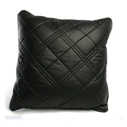"Brandi Renee Design - Faux Leather Pillow 20"", Black - Our faux leather pillow is designed with spacious hand sown diamond shape detailing and its sleek leather feel is smooth to touch. The bordered edge to the pillow is sown up by a thin tan string to add the perfect touch to the pillow. Available in colors Black, Chocolate & Ivory."