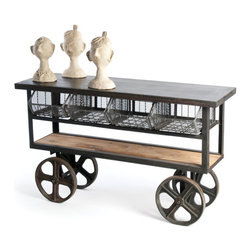 Mercato Cart - The Mercato industrial cart with huge tires is a great piece for unique home decor. The 61.5 inches long industrial cart has metal frame and a flat metal cart top. The two shelved assembly of the Mercato industrial cart has bottom shelve made of a single wood plank with natural wood finish. The top shelf is fitted with steel drawers with open front. Mercato industrial table can be a useful item at your garage or can be a unique decor piece for contemporary home decor scheme. The cart is given vintage industrial finish to make it a great home decor furniture item.