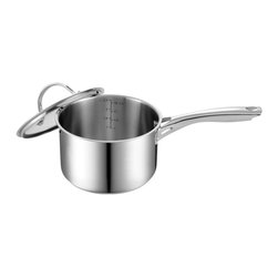 "Cooks Standard - Cooks Standard Stainless Steel Sauce Pan with Cover, 3-Quart, NC-00349 - What is ""Impact Bonding Technology""? Compare to traditional ""Brazing Bonding"", ""Impact Bonding"" technology is advanced method to apply aluminum disc to the bottom of cookware, under huge impact pressure, the aluminum disc is heated to almost melting soft, then aluminum spread to the outside edge of the pan, create a secure bonding to bottom of cookware, so heat distribution is very even along the bottom, preventing hot spot in bottom area, ""Impact Bonding"" made this type cookware significantly superior than traditional type of cookware."